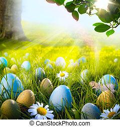 konst, dekorerat, påsk eggar, in, den, gräs, med, tusenskönor