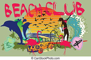 konst, flickor, pacific ocean, vektor, surfare