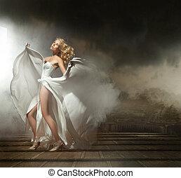 konst, foto, av, a, sexig, kvinna, in, vacker, klänning