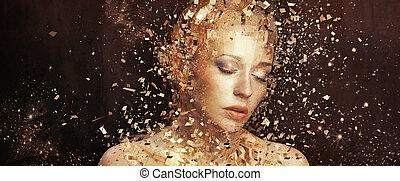 konst, foto, av, gyllene, kvinna, splintering, till,...