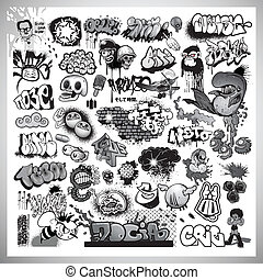 konst, gata, graffiti, elementara