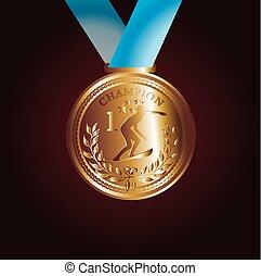 konst, guld, vektor, röd, medalj, band