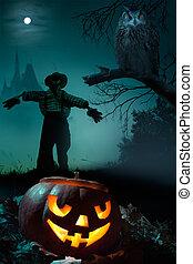 konst, halloween, bakgrund, natt