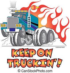 konst, halv-, flammor, stång, varm, lastbil, klippa