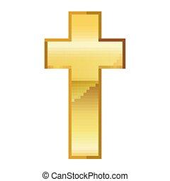 konst, illustration, cross., vektor, design, kristen, bildpunkt