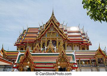 konst, in, tempel, av, thailand