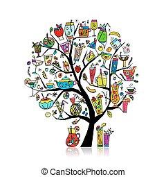 konst, kollektion, träd, design, din, drycken
