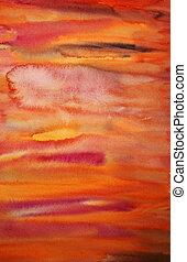 konst, målad, flame-coloured, hand, vattenfärg, bakgrund