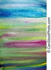 konst, målad, hand, vattenfärg, bakgrund, randig, skapande