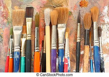 konst, målarfärg borstar, &, palett