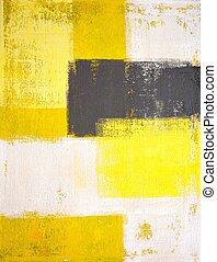konst, målning, grå, gul