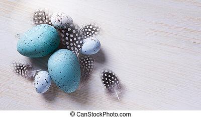 konst, påsk eggar, och, fjäder, flovers, på, ved, bakgrund