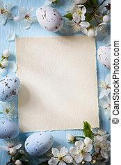 konst, påsk eggar, och, vår blommar, på, trä, bakgrund