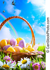 konst, påsk eggar, på, korg