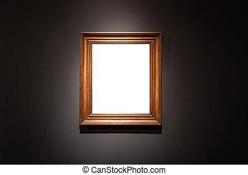 konst, ram, hängande, individ, svart fond, tom, galleri