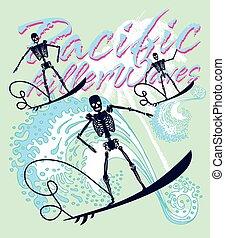 konst, skelett, fridsam, surfare, vektor, musik, vagga, syd