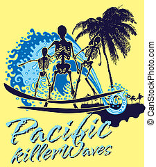 konst, skelett, pacific ocean, vektor, surfare