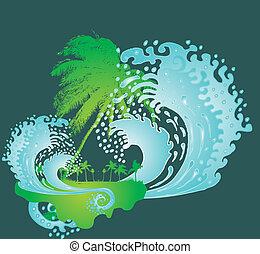 konst, stor, fridsam, vektor, palm, vågor, strand
