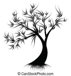 konst, träd, silhuett