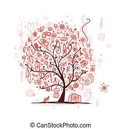 konst, träd, tillbehör, design, kvinnlig, din