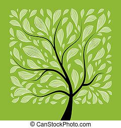 konst, träd, vacker, för, din, design