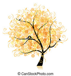 konst, träd, vacker, gyllene, blad