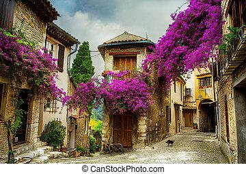 konst, vacker, gammal by, av, provence