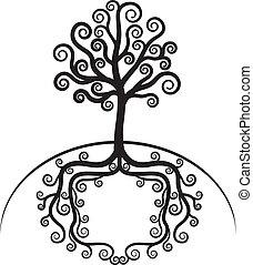 konst, vacker, träd