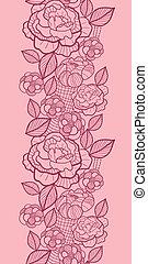 konst, vertikal, mönster, seamless, fodra, blomningen, gräns, röd