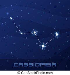 konstellation, cassiopeia, königin, nacht, stern, himmelsgewölbe