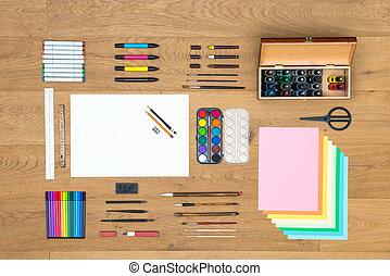 konster, teckning, och, design, bakgrund, på, trä, yta
