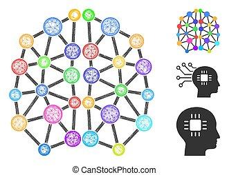 konstgjort, nät, hjärna, vektor, polygonal, illustration, ...