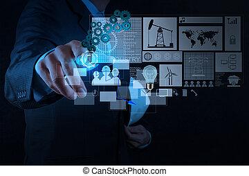 konstruál, üzletember, munka on, modern technology
