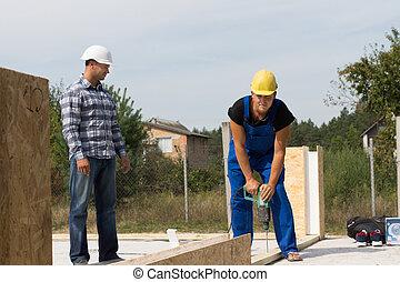 konstruál, igazgató, szerkesztés munkás, -ban, házhely