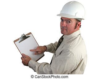 konstrukce, inspektor, -, ustaraný