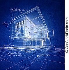 konstrukce, moderní, wireframe