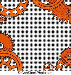 konstrukce, o, pomeranč, drzost, hodiny, sloučit
