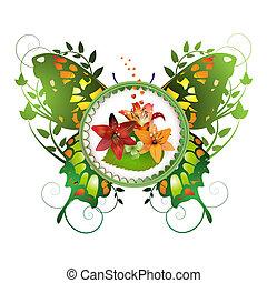 konstrukce, s, květiny, s, motýl