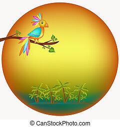 konstrukce, s, papoušek, ilustrace