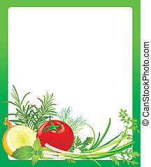 konstrukce, s, zelenina, a, byliny