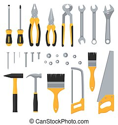 konstrukce, výzbroj, průmyslový, otesat dlátem, vektor, byt, ikona