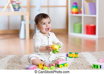 konstruktőr, csecsemő, játék, boldog