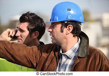 konstruktion, övervakare, och, assistent, iaktta