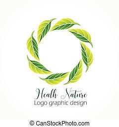 konstruktion, økologiske, logo, natur, det leafs, ikon, vektor, sundhed