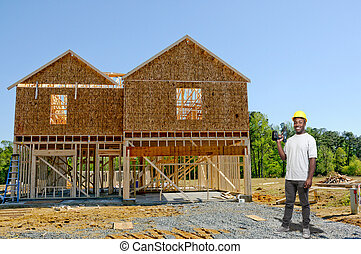 konstruktion arbejder, hos, bor