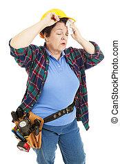 konstruktion arbejder, kvindelig, trætt
