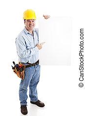 konstruktion arbejder, -, tegn