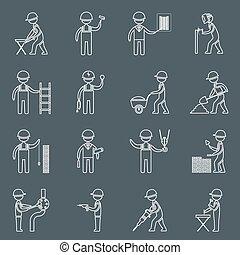 konstruktion arbejder, udkast, iconerne