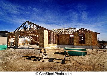 konstruktion, av, nytt hem