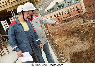 konstruktion, byggare, plats, ingenjörstrupper